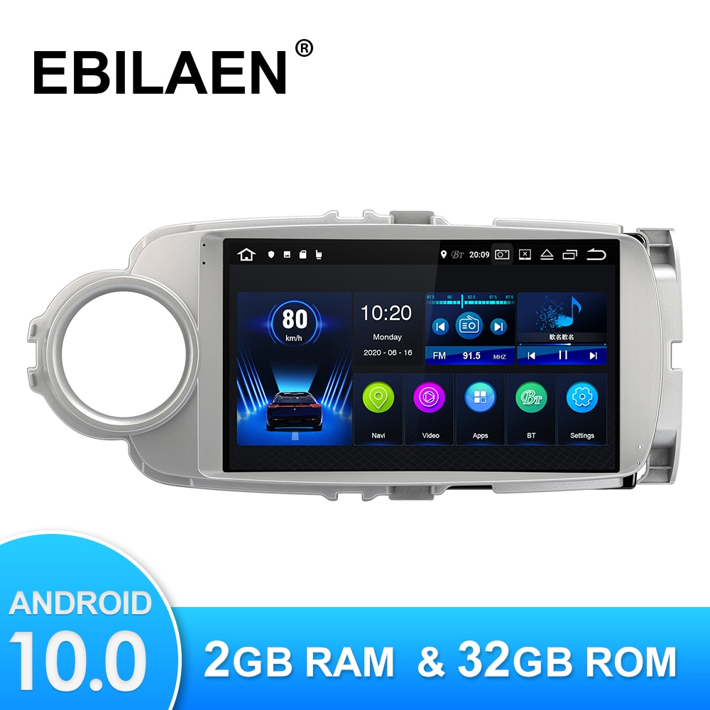 EBILAEN Android10.0 سيارة مشغل فيديو الوسائط المتعددة لتويوتا يارس 2012 -2017 نظام صوت للتنقل باستخدام جهاز تحديد المواقع كاميرا هيدوحدة ISP شاشة واي فاي