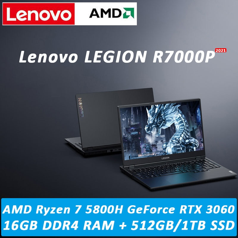 NEW Lenovo Legion R7000P 2021 15.6inch Gaming Laptop AMD Ryzen7-5800H GeForce RTX 3060 6GB Backlit metal body 16GB 512GB/1TB SSD