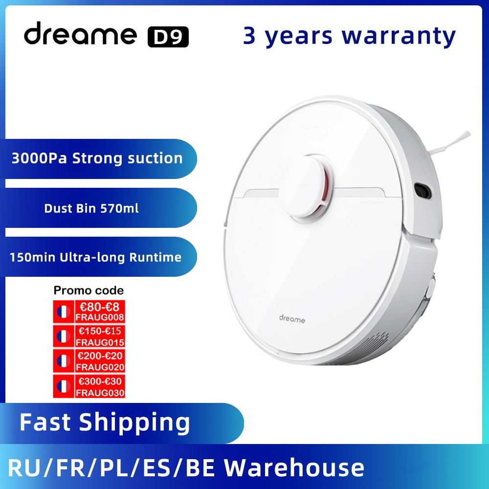 2021 Dreame D9 Robot Vacuum Cleaner for home Sweeping Washing Mopping 3000PA cyclone Suction Dust MIJIA APP WIFI Smart Planned