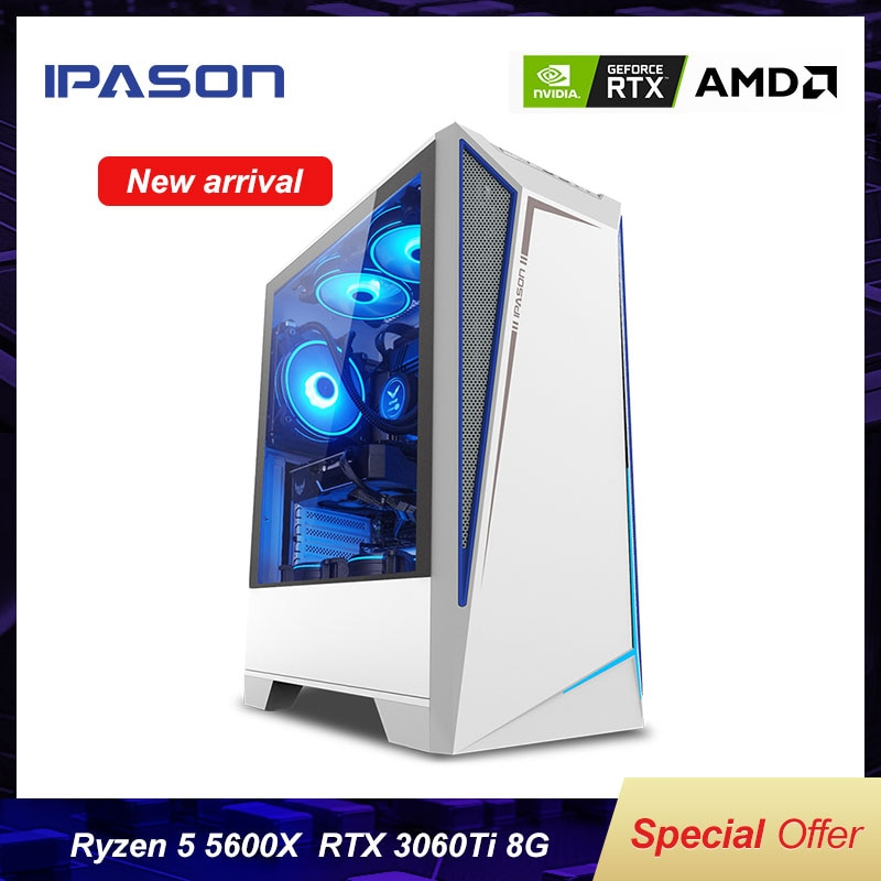 IPASON Battlefield S5 Gaming Computer PC AMD R5 5600X RTX3060TI 8G/500G M.2 SSD 16G DDR4 RAM Desktop E-sport  Device