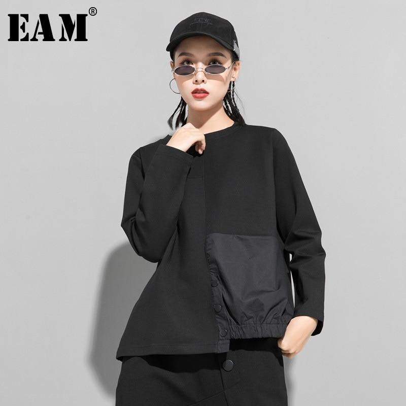 [Eam] botão de ajuste solto split com camisola de lã nova gola redonda manga longa feminina tamanho grande moda primavera outono 2020 1m808