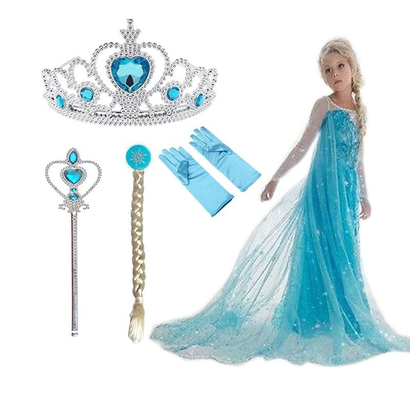 2021 New Elsa Dress Girls Summer Dress Princess Cosplay Costume Dresses For Kids Christmas Birthday Fancy Party Vestidos Menina