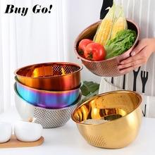 1PC Stainless Steel Rice Washer Drain Basket Kitchen Vegetables Fruit Storage Basin Household Thickened Round Drain Kitchen Tool