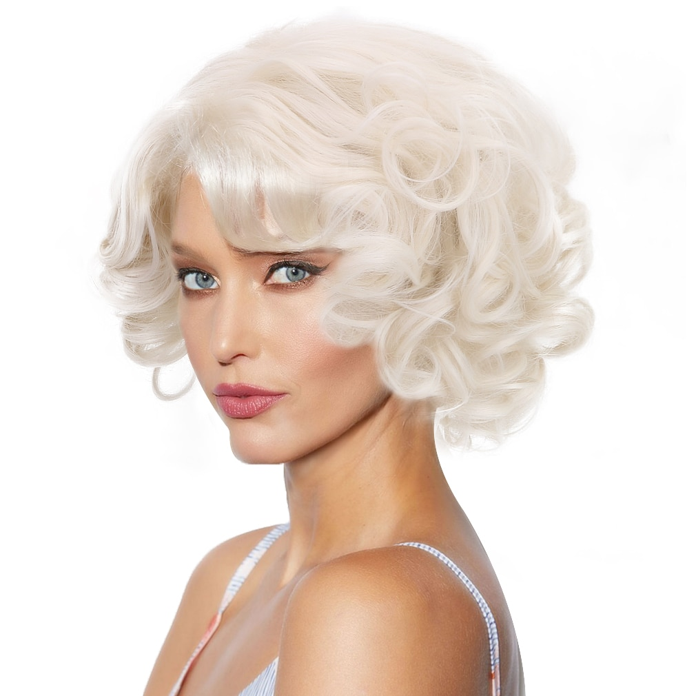 Free beauty Big Curly Marilyn Monroe Cosplay Wig-1920s Finger Wave Synthetic Bombshell Hair Wigs for Party Costume Halloween