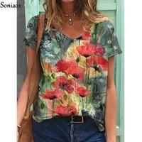 plus size 3xl women elegant leisure casual t shirt bohemian flower print v neck loose womens top 2021 summer tees shirt femme