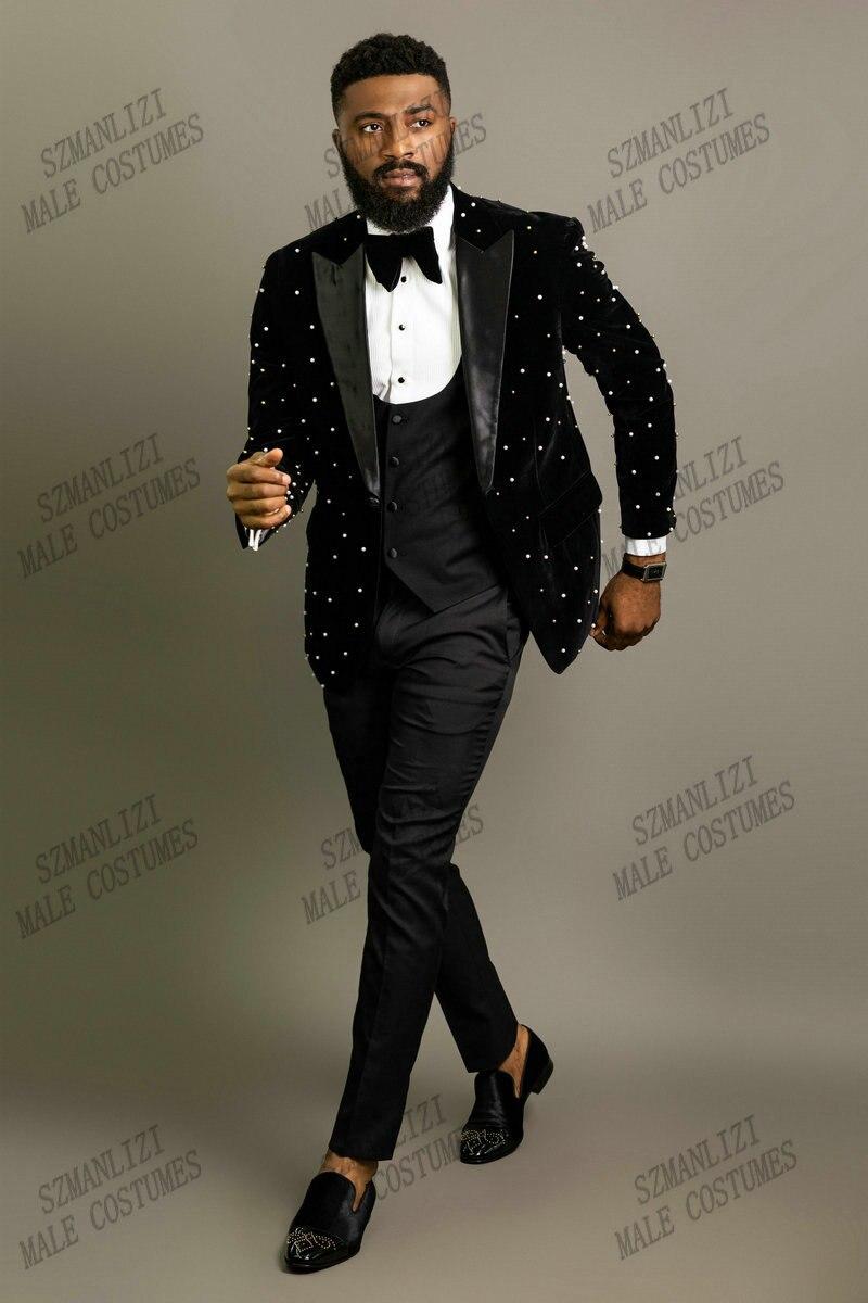 أحدث تصميمات 2021 معطف بانت أسود مطرز بالخرز المخملية سترة سهرة زي أوم ذكر فستان حفلة العريس بدلة رجالية لحفلات الزفاف
