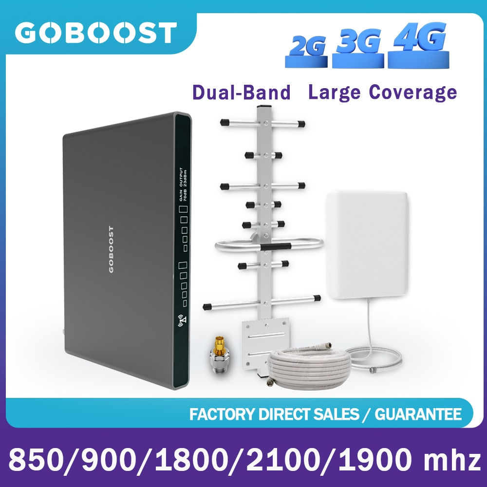 GOBOOST  2 Band Signal Repeater 3G 4G Amplifier DCS 1800 2100 GSM Cellular Signal Booster 4G LTE PCS 1900 UMTS Network Full Kit