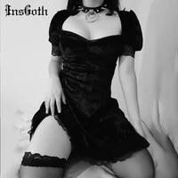 insgoth vintage lace black dress goth sexy high waist mini dress aesthetic elegant short sleeve a line dress party club wear