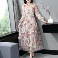 2021 summer long dress round neck long sleeve printed ruffle dress fashion party evening dresses christening y2k sexy dress