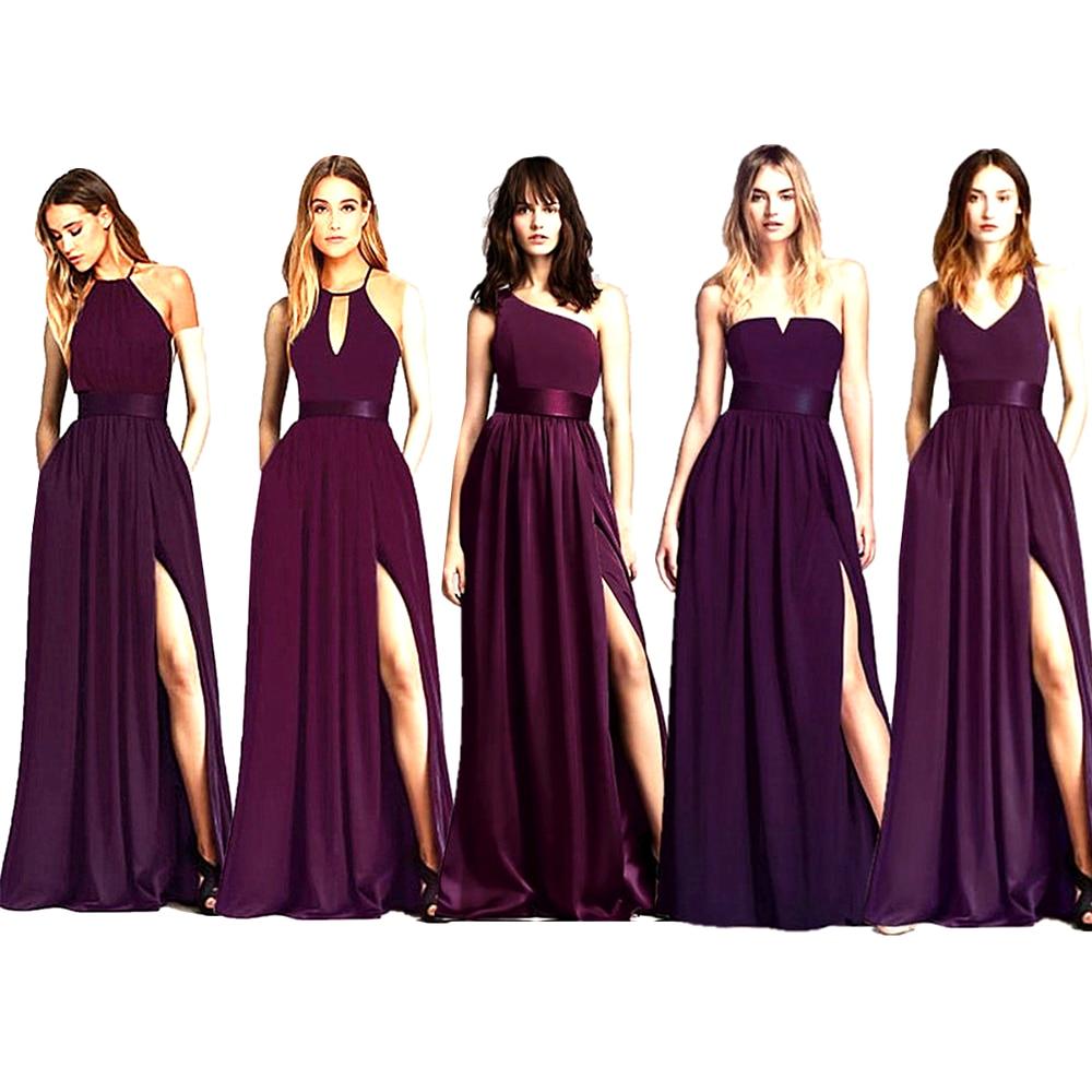 Long Purple A -Line Bridesmaid Dresses 2020 Engagement Celebration Gowns Satin Wedding Party Dress For Bridesmaid Group Dress