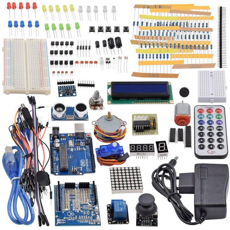 Último Kit de arranque por ultrasonidos Sensor UNO R3... LCD1602 pantalla para arduino UNO Mega2560 UNO Nano con caja de plástico de la UE P