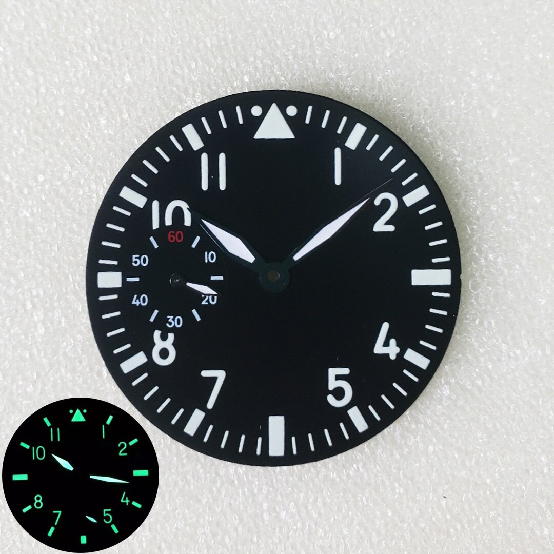 38.8mm Watch Dial Green Luminous Watch Accessories Repair Parts for Swiss ETA 6498 Seagull ST3620 Mo