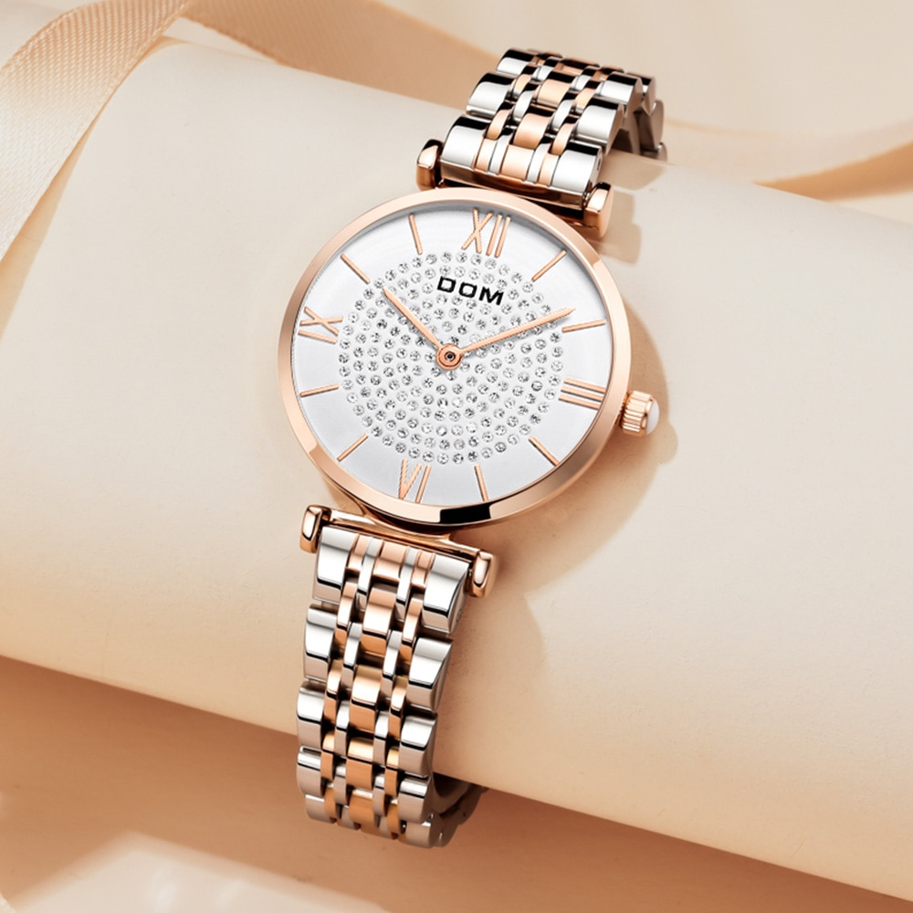DOM Trendy Full drill Casual Lightweight Fashion Luxury Ladies Watch Waterproof Swimming Stainless Steel Strap G-1342 enlarge