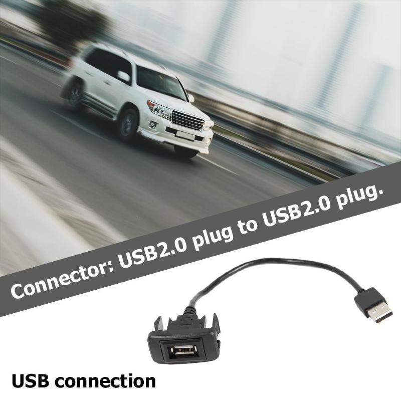 Adaptador de Cable de extensión de Panel de puerto USB para TOYOTA HILUX VIGO FORTUNER 2004-2012 Accesorios Negros para coche