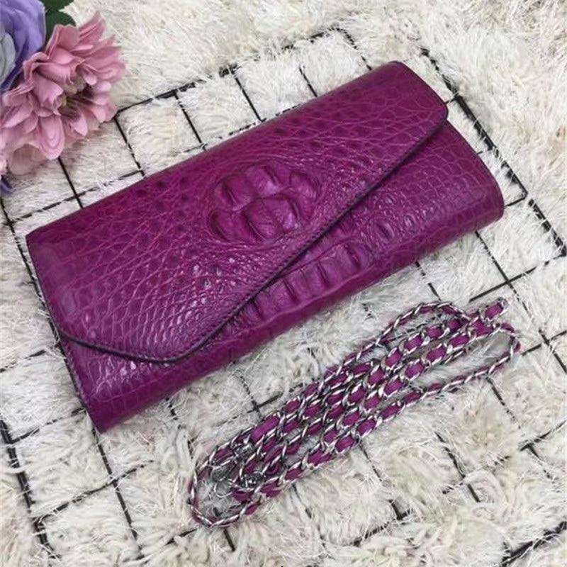 محفظة نسائية من جلد التمساح الأصلي ، حقيبة بسلسلة ، مغلف ، جلد تمساح ، حقيبة كتف واحدة