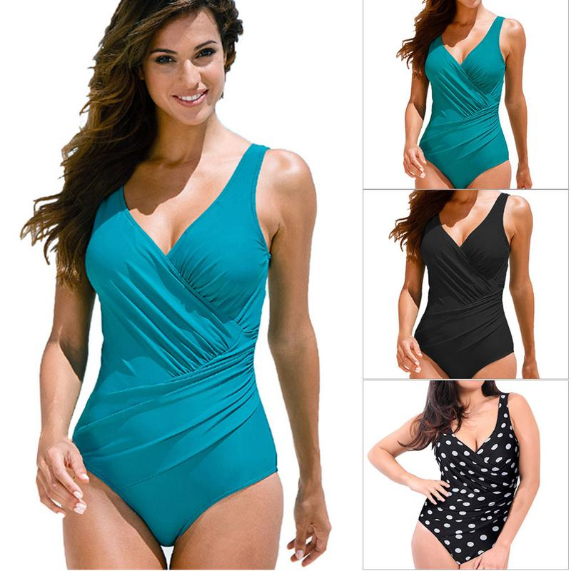 Black Bikini Large Size Solid Color Women One Piece Surplice  Swimsuit Plus Retro Swimwear Wholesale New Arrival