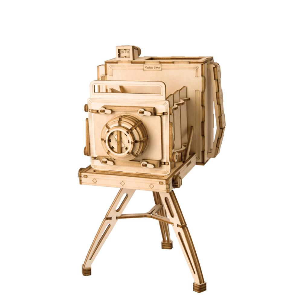 Juguetes Robotime DIY con cámara Vintage, rompecabezas de madera en 3D, modelo de juguete, decoración de escritorio de madera para niños TG403