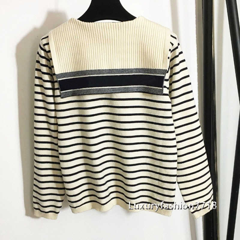 luxury design 21 fashion women Brand clothing Letter jacquard sailor collar long sleeve Striped knitting sweater woman sweaters enlarge