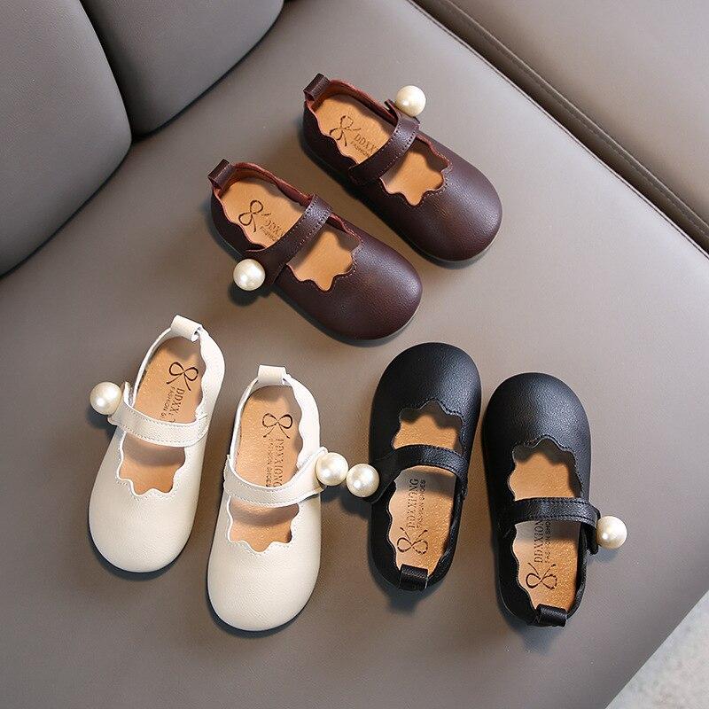 Printemps automne filles princesse chaussures perle Mary Janes chaussures en cuir chaussures plates pour enfant bébé fille unique chaussures tout-petits blanc noir 1-6y