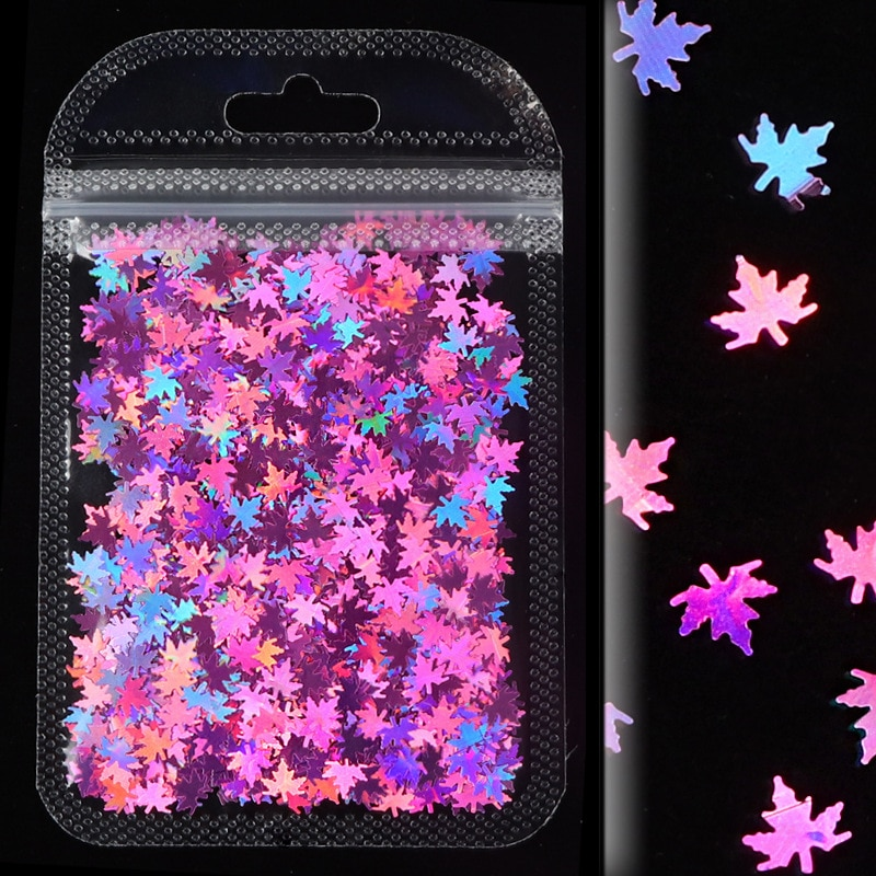 1Pack Colored Maple Leaf Holographic Nail Art Sequin Laser Glitter Manicure Design Autumn Leaves Polish Sparkle