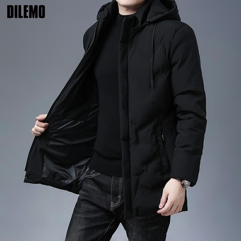 Брендовая Повседневная модная утепленная мужская длинная парка зимняя куртка с капюшоном ветровка пальто высшего качества Мужская одежда ...