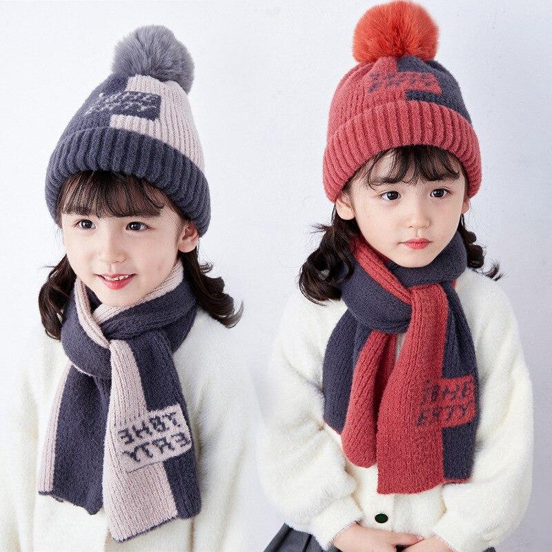 Детские Носки с рисунком медведя из мультика полоса Шапки и шарф комплект для малышей для девочек и мальчиков Набор из шапки и шарфа для дет...