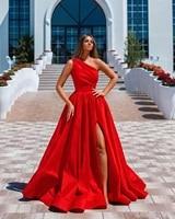 festival red a line long prom dresses side split one shoulder vestidos de fiesta ruched cheap bride party evening formal dress