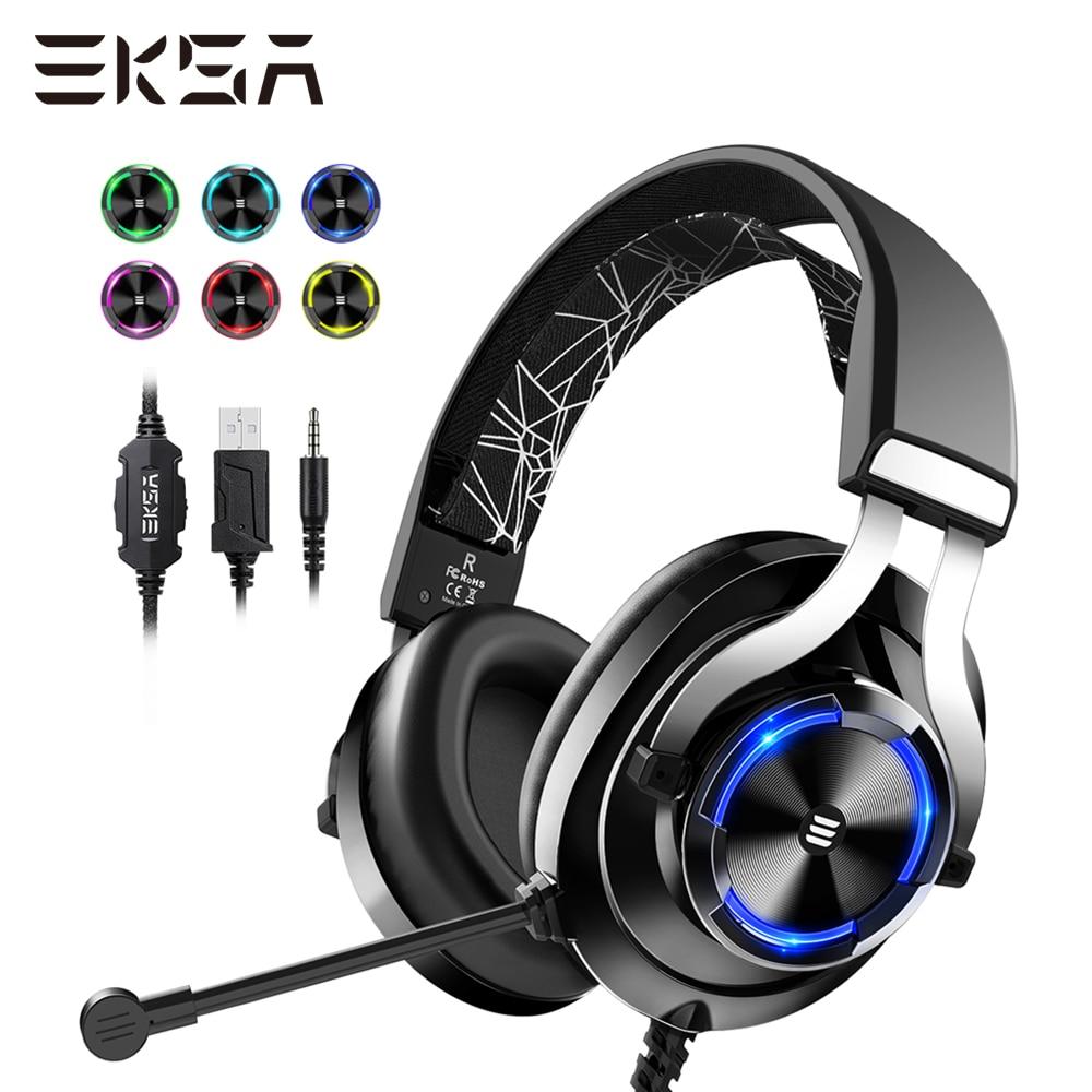 EKSA juegos por cable auriculares Gamer E3000 estéreo de graves profundos auriculares con cable para Smartphone PC PS4 Xbox con micrófono RGB luz LED