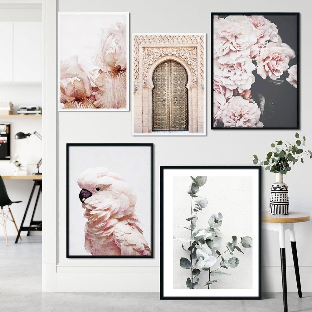Marrocos folha de porta flor planta nórdico posters e impressão rosa papagaio arte da parede quadros parede lona para sala estar decoração