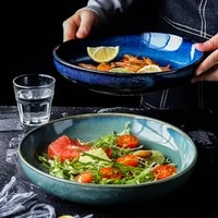 ceramic deep plate japanese style round dishes soup plate household tableware salad fruit plate procelain large plate