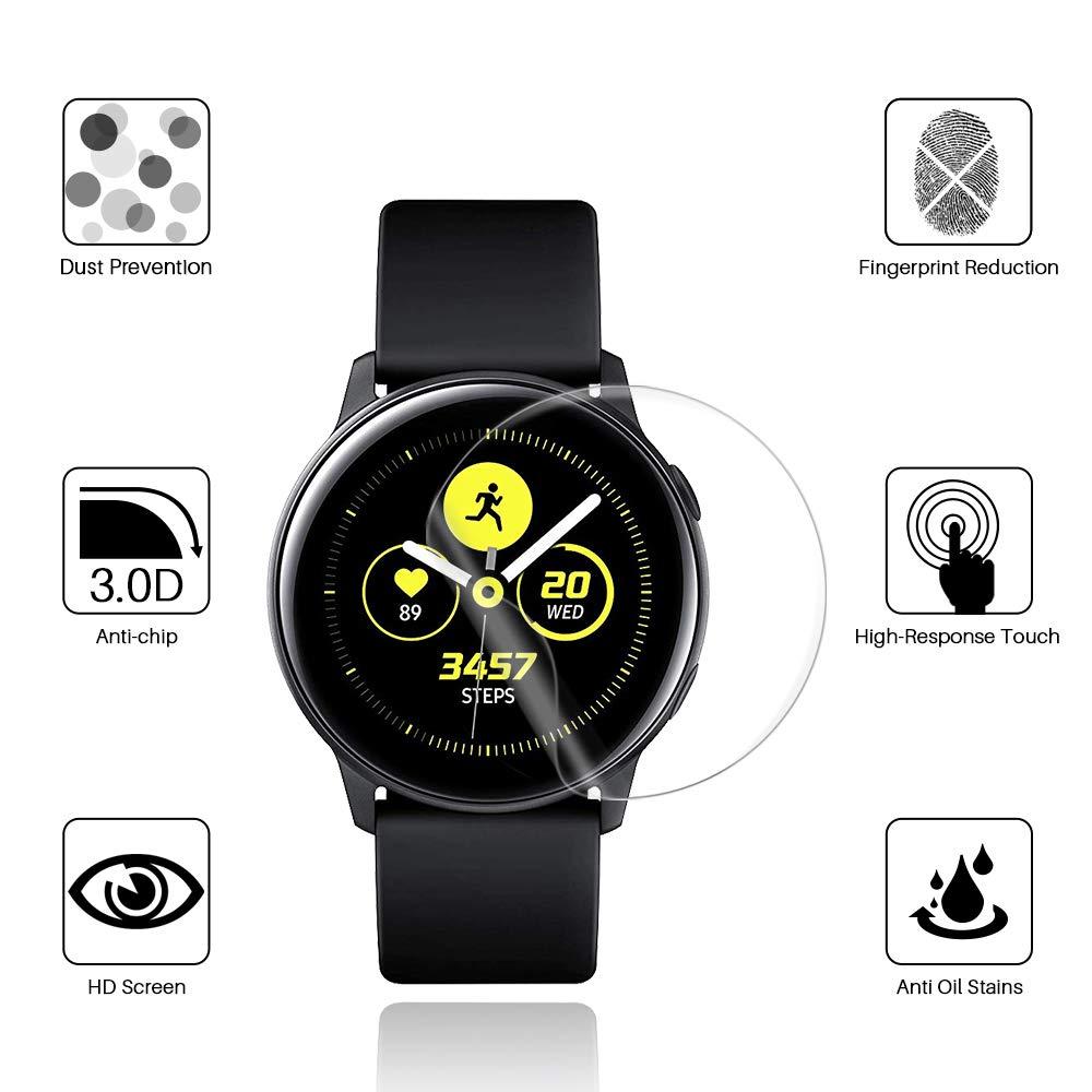 Película templada de pantalla para Samsung Galaxy Watch Active 2 40 44mm cobertura completa de vidrio protector de pantalla HD película a prueba de explosiones