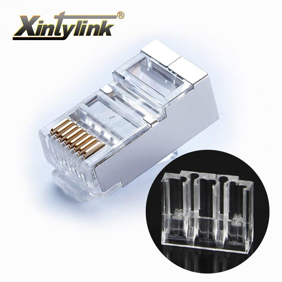 Xintylink rj45 stecker ethernet kabel stecker männlichen 8P8C cat6 netzwerk last bar stp abgeschirmt modulare gold überzogene klemmen 50 stücke