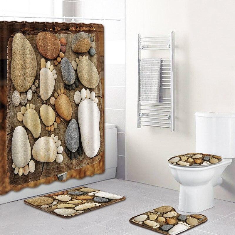 Alfombra antideslizante para baño con huellas de piedra, alfombrilla para el suelo, alfombrilla para el baño, alfombrilla para el inodoro, 4 unids/set