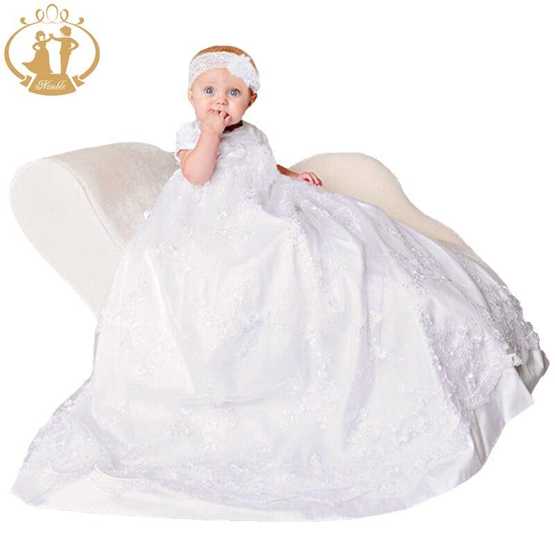 Nimble Newborns Clothes Baby Girls Christening Gowns White Lace Embroidered Infant Dress Baptismal Vestido Infantil Dress 2021