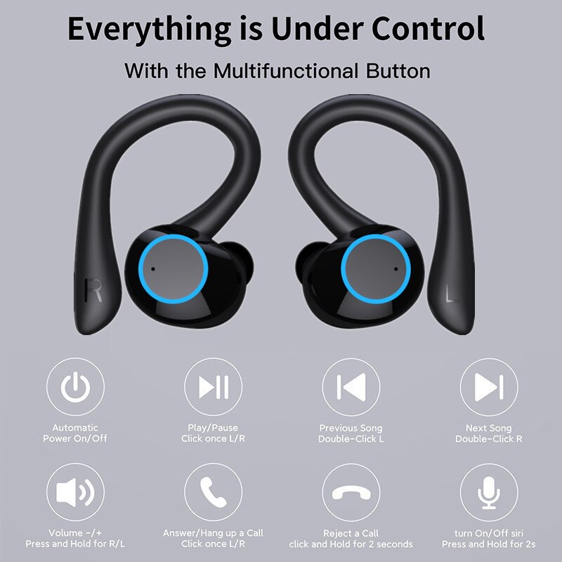 Bluetooth Earphones Touch Control Wireless Headphones with Microphone Sports Waterproof Wireless Earbuds 9D Stereo Headsets enlarge