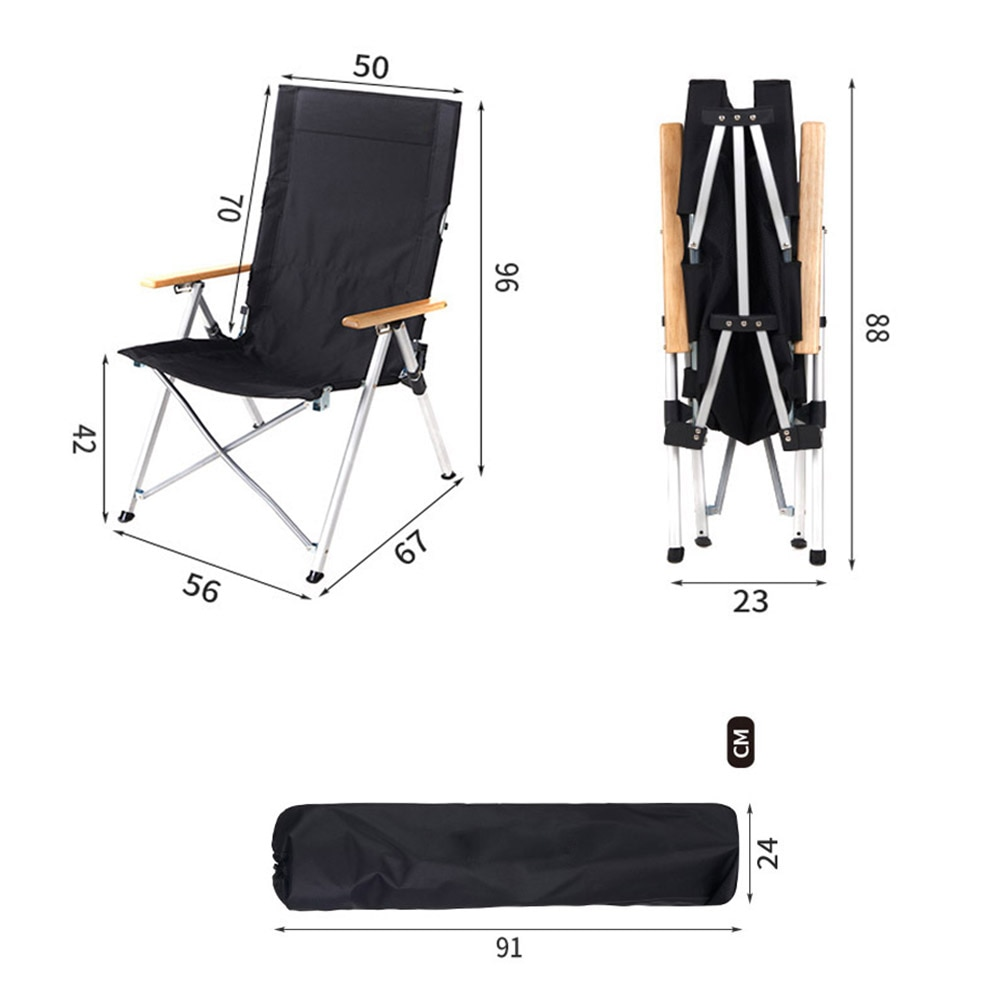 Canvas Folding Camping Chair Outdoor Portable Aluminum Alloy Backrest Recline Real Wood Armr Adjustable Long Back Fishing Chair enlarge