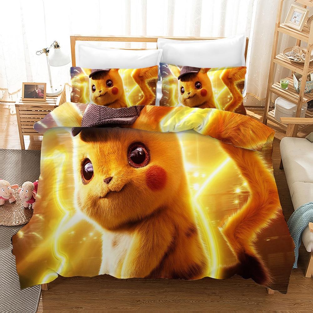 3D Pikachu Pokemon Print Bedding Set Duvet Covers Pillowcases One Piece Comforter Bedding Sets Bedclothes Bed Linen 07