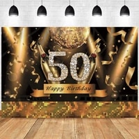 black gold 50th happy birthday party backdrop lady balloon photography background adult golden black photographic banner