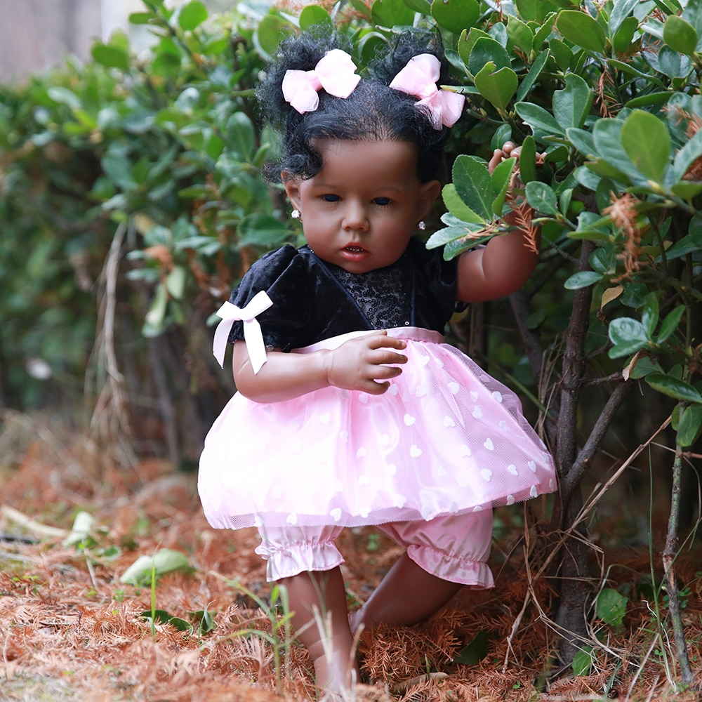 HOOMAI Lifelike Reborn Baby Dolls with Soft Body African American Realistic Girl Doll 20 Inch Best Birthday Gift new style soft baby doll gift 22 inch silicone baby dolls realistic doll reborn gift for children play house toys with dress