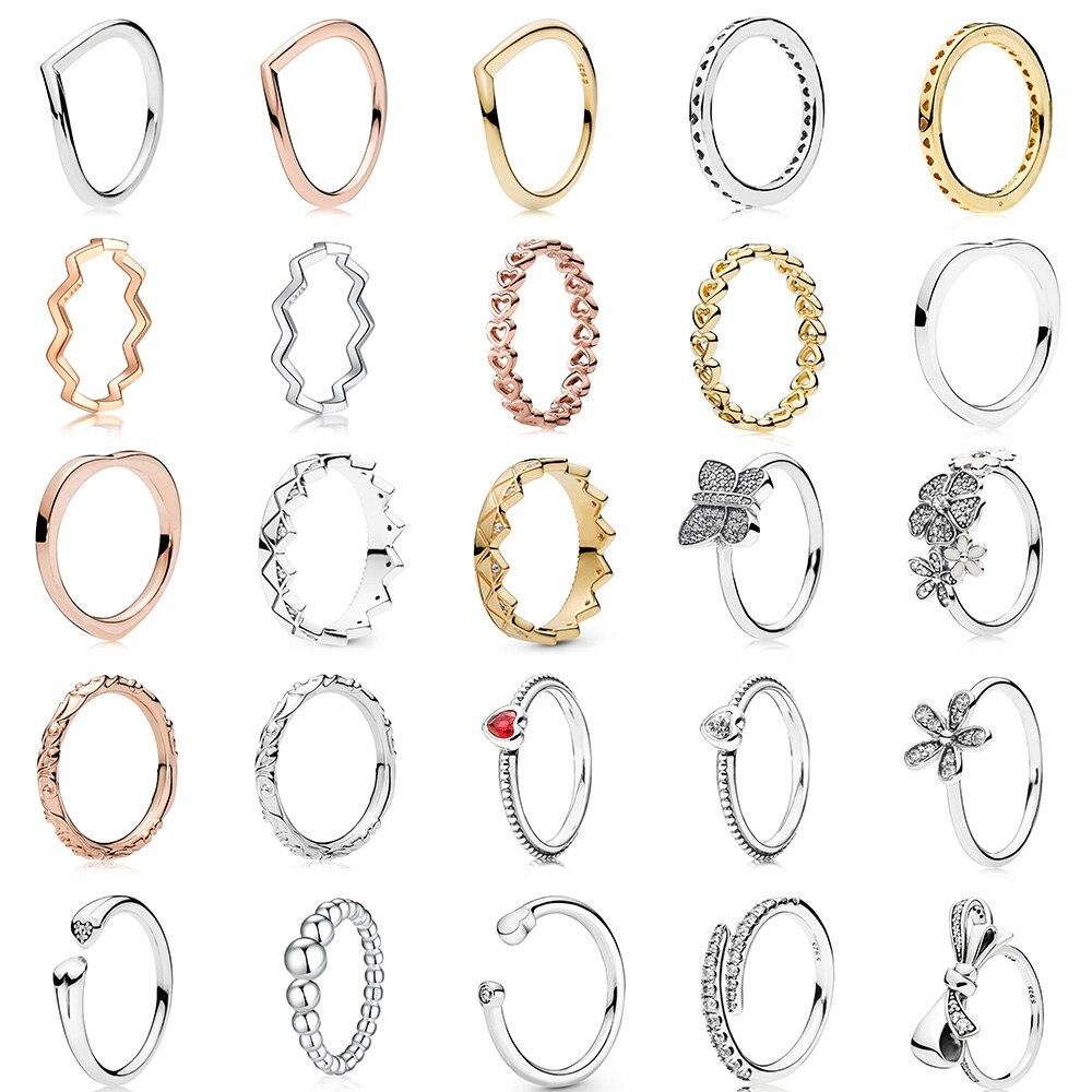 Femmes 925 bague en argent Sterling breloques fleurs nœud papillon or Rose coeur bague pour les femmes de mariage fête Fine bijoux
