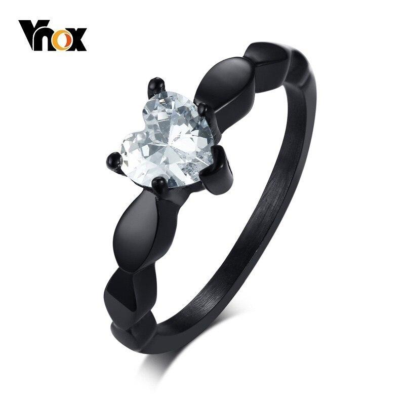Vnox coração amor anéis de noivado para mulher bling cz preto aço inoxidável feminino aliança jóias