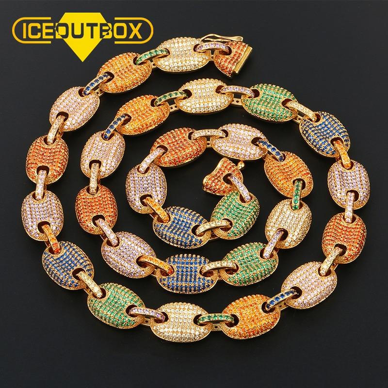 Alta calidad 12mm Cadena de eslabones de granos de café CZ Cadena de eslabones de diamantes de imitación colorida cadena helada para hombres Hip Hop joyería Envío Directo