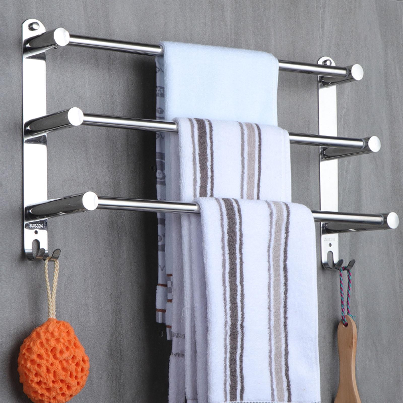 منشفة رف الفولاذ المقاوم للصدأ مرنة قابل للتعديل 50 إلى 90 سنتيمتر 3 العلاقات الذراع منشفة حامل بار السكك الحديدية شماعات الحائط للحمام