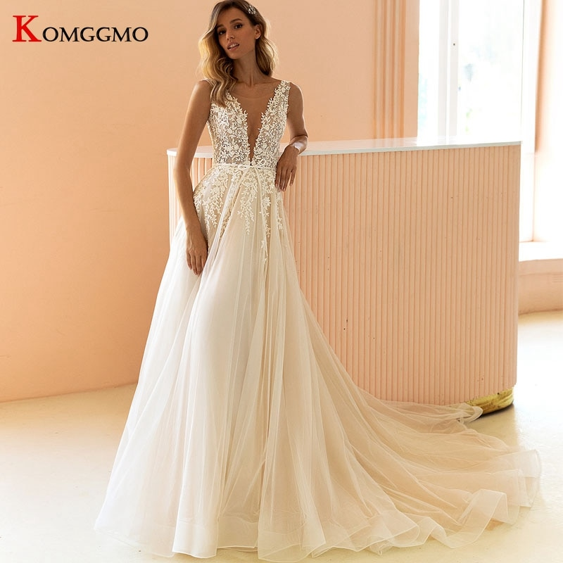 Review Custom Made Sleeveless Deep V-Neck Chapel Train Bridal Ball Gown Luxury Embroidery Appliques Tulle Zipper Back Wedding Dress