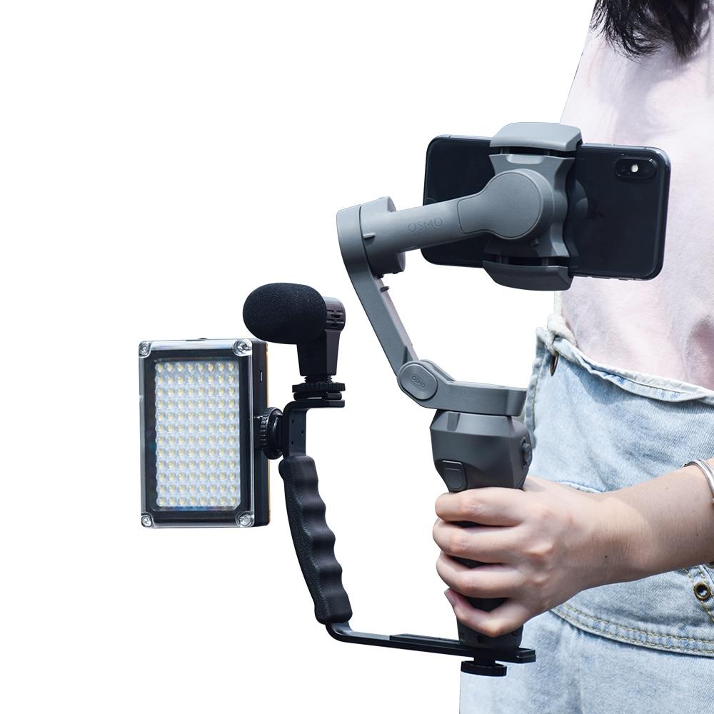 L Shaped Handle Holder for DJI OM 4 Osmo Mobile 3 2 Stabilizer Tripod Extension Rod LED Video Light