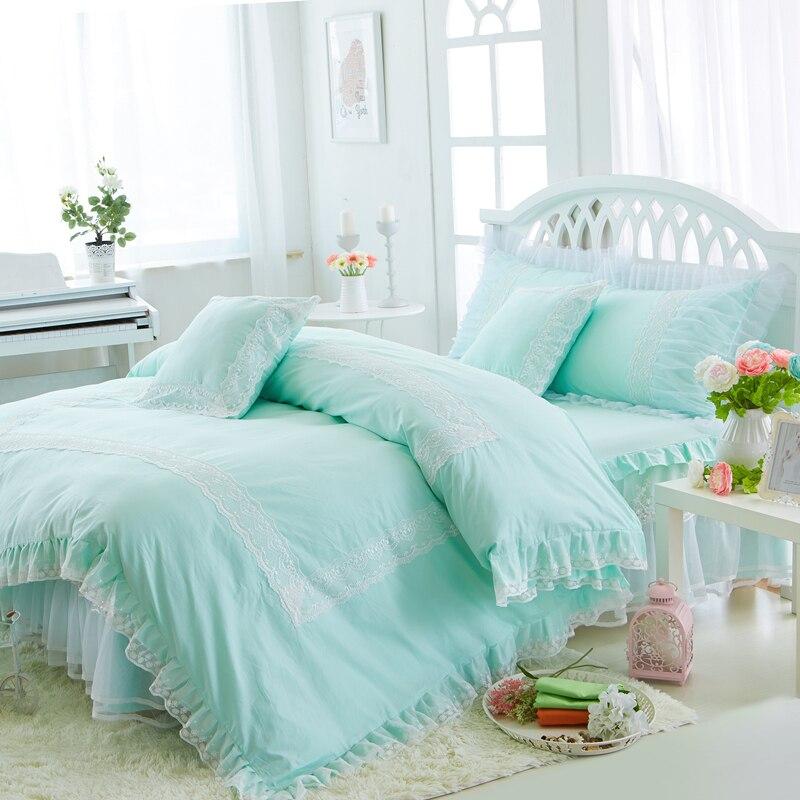 Juego de cama de encaje de algodón de princesa blanco verde azul tamaño doble reina rey niñas juego de cama edredón juego de sábanas funda de almohada regalos