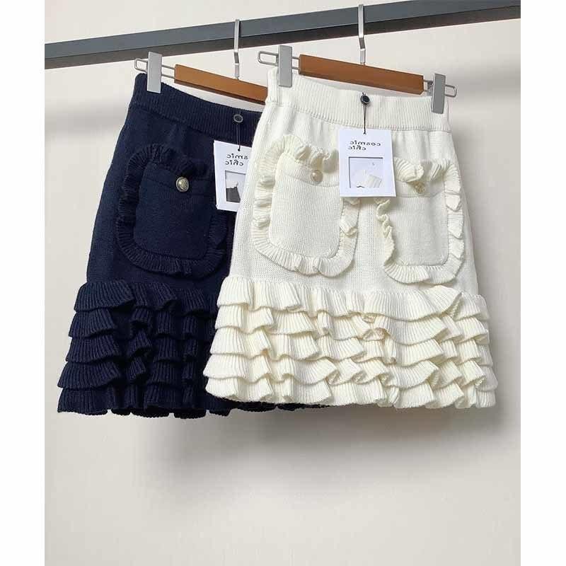 Mini Skirt Women 2021 Spring Summer Fungus Edge Knitted Wool Skirt Elegant Show Mini Skirt Pocket Ru