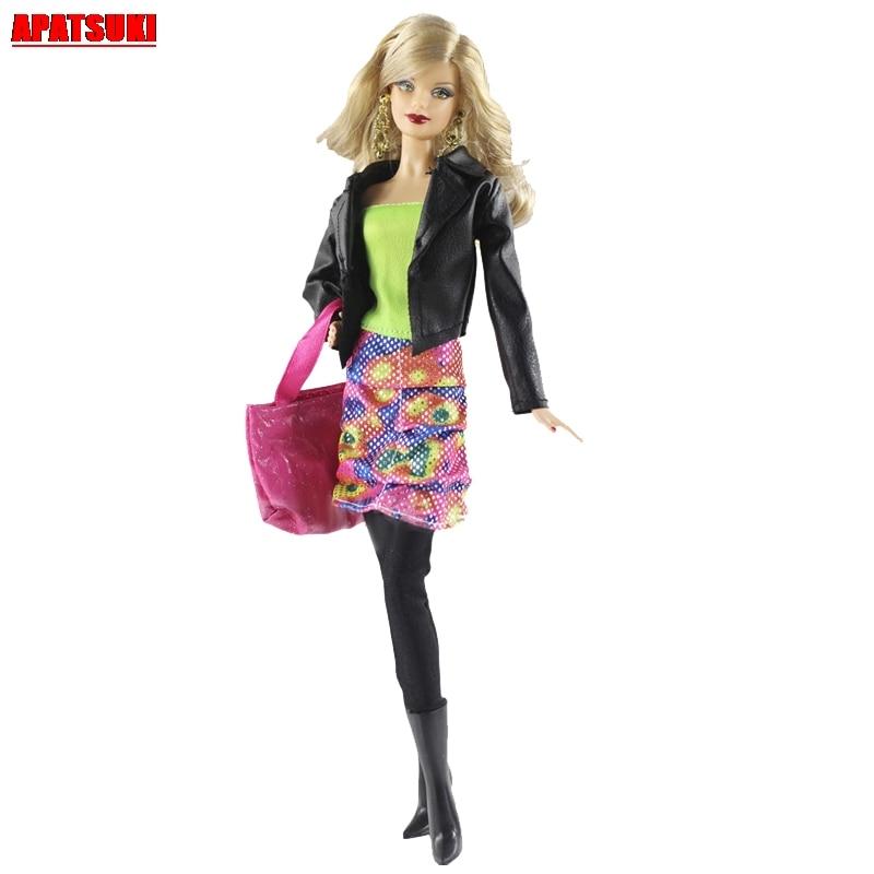 1 комплект, цельный топ с открытыми плечами, блузка, черное пальто, розовая сумка, костюм, Одежда для куклы Барби, наряды, Одежда для кукол BJD 1/6...