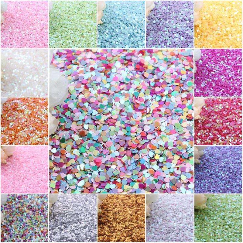 3 milímetros Lantejoulas PVC Estrela Plana Coração Solto Lantejoula Paillettes Nail Art Craft Costura DIY Scrapbooking Glitter Confetes 20g