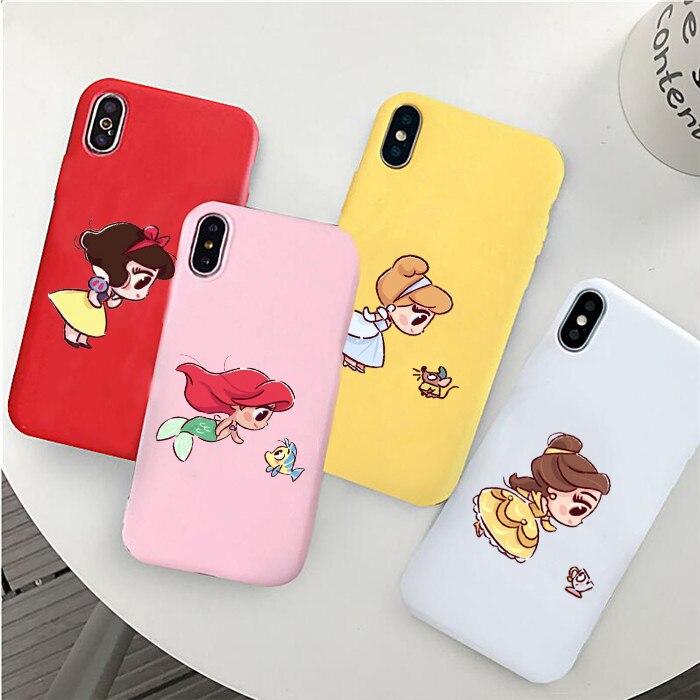 Mini princesas lindo Belle Blancanieves Caramelo Suave de silicona cubierta de la caja del teléfono para Iphone 11 Pro Max X Xs X Xr 7 8 Plus